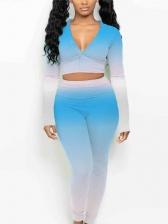 Contrast Color V Neck 2 Piece Outfits