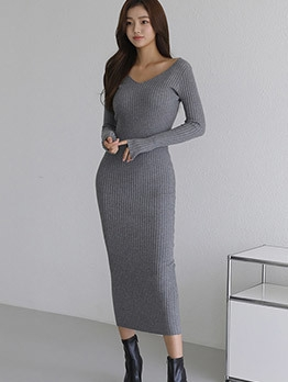 Pure Color V Neck Long Sleeve Knitted Maxi Dress