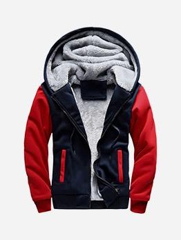 Contrast Color Zipper Up Fleece Hoodie Coat