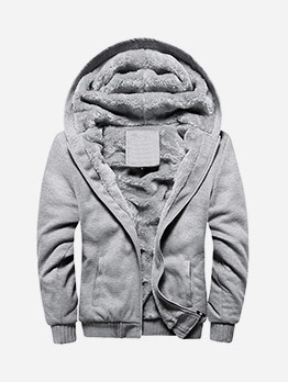 Pure Color Fleece Mens Winter Coat
