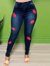 Lips Print High Waist Plus Size Jeans