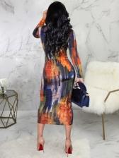 Crew Neck Printing Long Sleeve Midi Dress