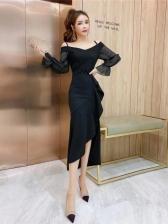 Off The Shoulder Split Hem Black Evening Dress