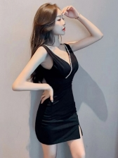 Deep V Neck Rhinestone Decor Sleeveless Mini Dress