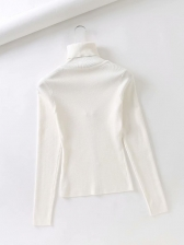 V Neck Pure Color Long Sleeve T-Shirt Casual