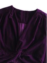 Front Twist Lantern Sleeve Velvet T-Shirt