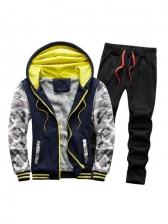 Fleece Camo Two Piece Pants Set For Men