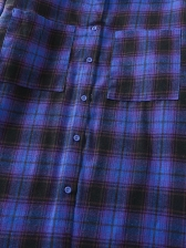 Single-Breasted Pockets Blue Plaid Shirt