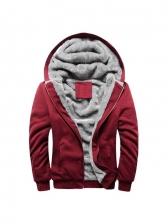 Pure Color Fleece Mens Winter Coat