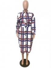 Stylish Turndown Collar Plaid Long Coat