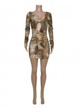 U Neck Printed Long Sleeve Bodycon Dress