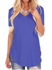 Plus Size Pure Color V Neck T Shirts