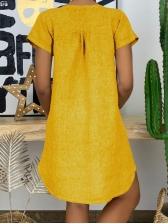 Short Sleeve Solid Plus Size Dresses