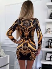 U Neck Printed Long Sleeve Short Dress