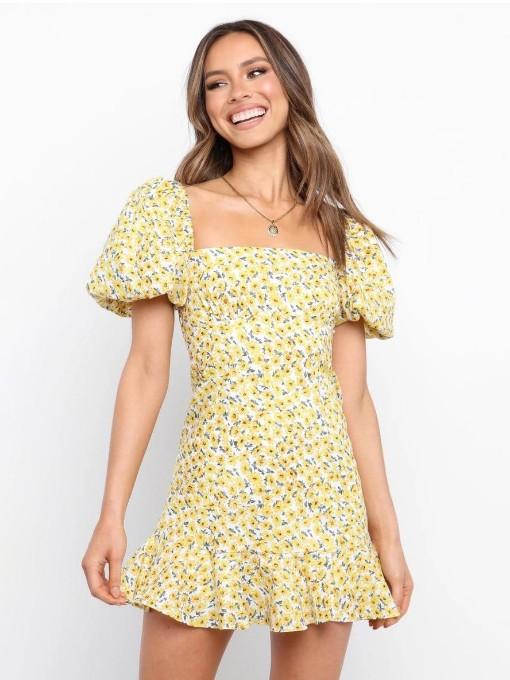 Euro Square Neck Puff Short Sleeve Ladies Dress