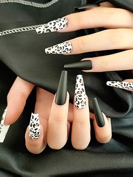Long Matte Leopard Style False Nail Patch
