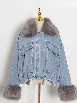 Detachable Fur Collar Long Sleeve Denim Jacket