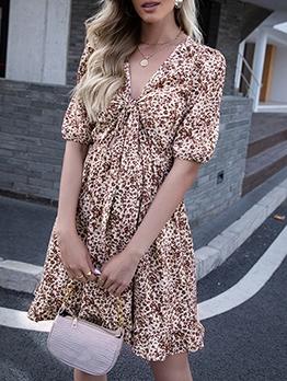 Summer Print Tie Wrap Short Sleeve Dress