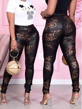 Snake Print Stretch Skinny Pants For Women