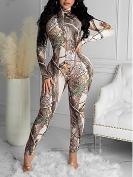 Woods Print Long Sleeve Bodycon Jumpsuit