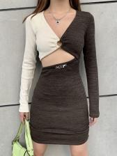 Contrast Color Hollow Out Pencil Dress For Ladies