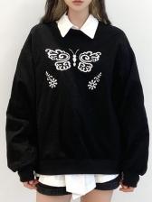 Embroidery Black Loose Crew Neck Sweatshirt