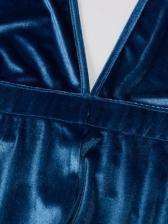 Backless Halterneck Velvet Stacked Jumpsuit