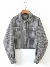 Houndstooth Pockets Crop Jacket For Women