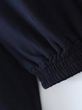 Turndown Neck Loose Pullover Sweatshirt For Ladies