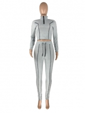 Stand Neck ContrastTippingTracksuit For Ladies