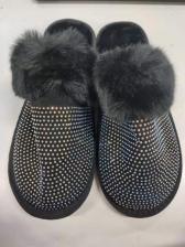 Faux Fur Rhinestone Closed Toe Soft Slippers