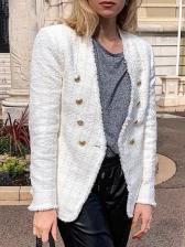 Vintage Double Breasted V Neck Tweed Blazer