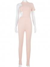 Hollow Out Irregular Short Sleeve Jumpsuit