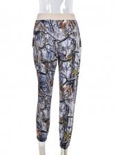 Casual Printed Drawstring Pants For Women