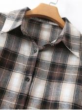 Vintage Plaid Tunic Long Sleeve Shirt Dress