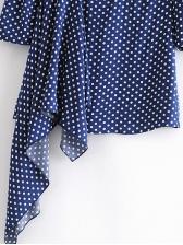 Crew Neck Polka Dots Irregular Hem Ladies Dress