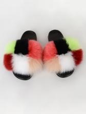 Color Block Round Toe Women Slides Slippers