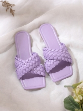 Summer Square Toe Woven Design Womens Slippers