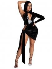 Sexy Backless One Long Sleeve Mini Dress