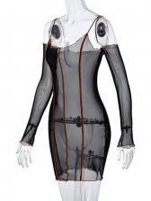 Off Shoulder Gauze Perspective Sexy Nightclub Dress