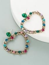 Hollow Out Heart Shape Rhinestone Vintage Earrings