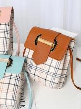 Street Contrast Color Plaid Shoulder Bags