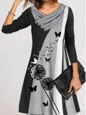 Popular Contrast Color Print Long Sleeve Dress