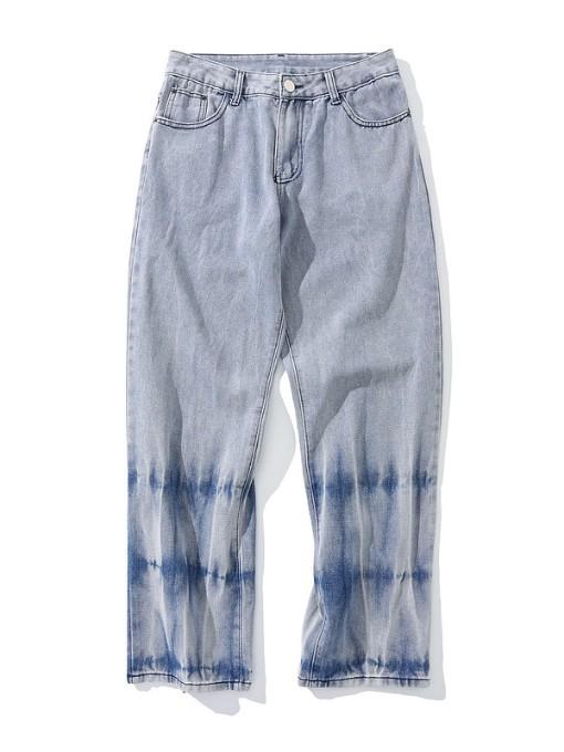 Vintage Printing Mid Waist Straight Jeans