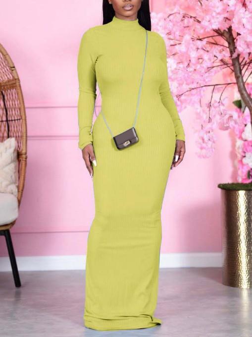 Mock Neck Solid Long Sleeve Maxi Dress