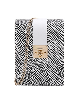 Zebra Striped Print Hasp Mini Bag For Women