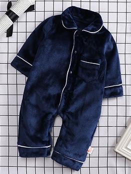 Winter New Plush Thicken Sleepsuit Boys
