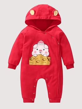 New Year Cartoon Print Baby Sleepsuits