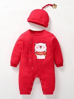 2021 New Pig Print Newborn Sleepsuits