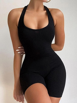Sports Pure Color Halter Bodycon Romper